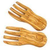 Olive Wood Salad Server Hands, Curved