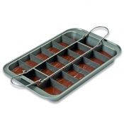 16 x 10 inch slice solutions brownie pan with frame filled with batter.