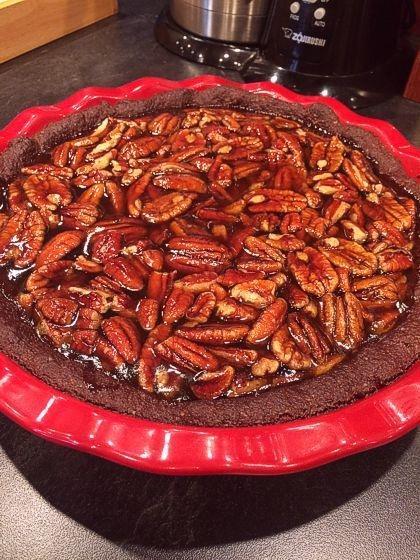 Gluten Free Pecan Pie with Dark Chocolate Crust