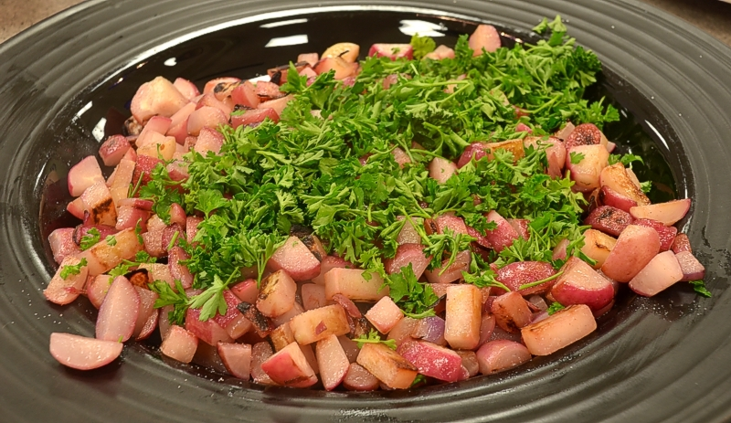 Blistered Radishes with Parsley