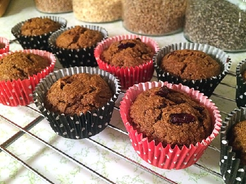 Einkorn Pumpkin Cranberry Muffins
