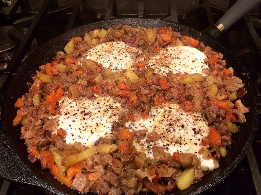 Beef Hash with Root Vegetables & Poached Eggs
