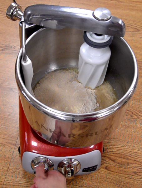 Mixing the bread ingredients