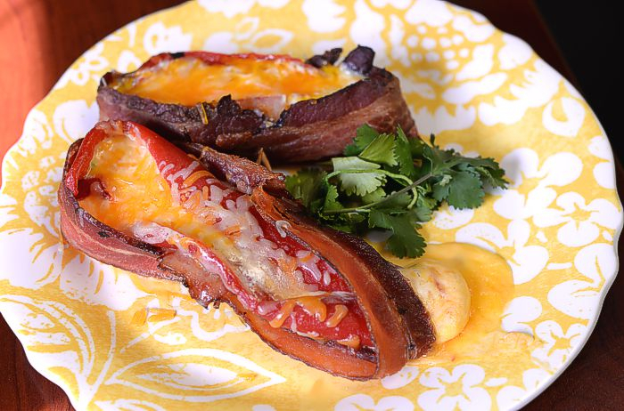 Bacon Wrapped Roasted Peppers