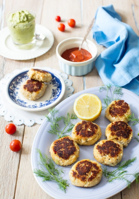 Crab Cakes with Sweet Pea & Avocado Sauce