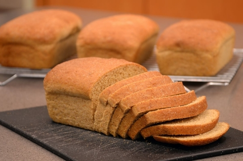 4 loaves of bread made in Bosch Compact mixer