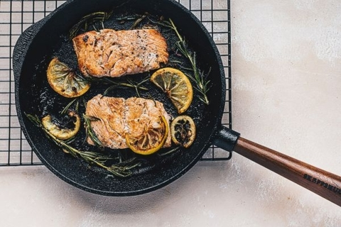 Lemon Rosemary Salmon with Cauliflower Fried Rice