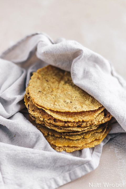 Homemade corn tortillas made from masa