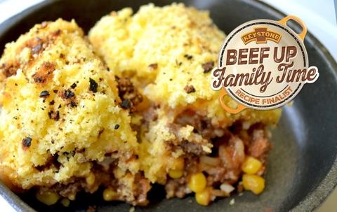 Beefy Rice, Corn and Cheesy Cornbread