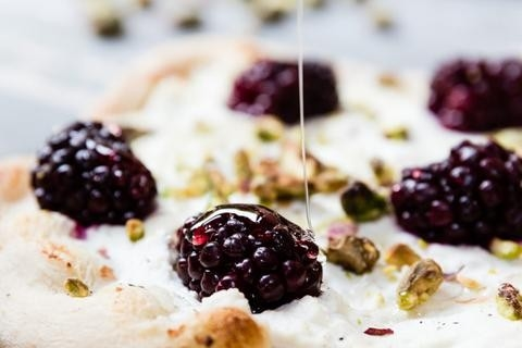 Blackberry Pizza With Ricotta, Pistachios & Honey