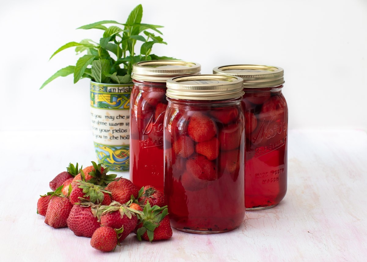 Strawberries with Mint & Vanilla Bean Syrup