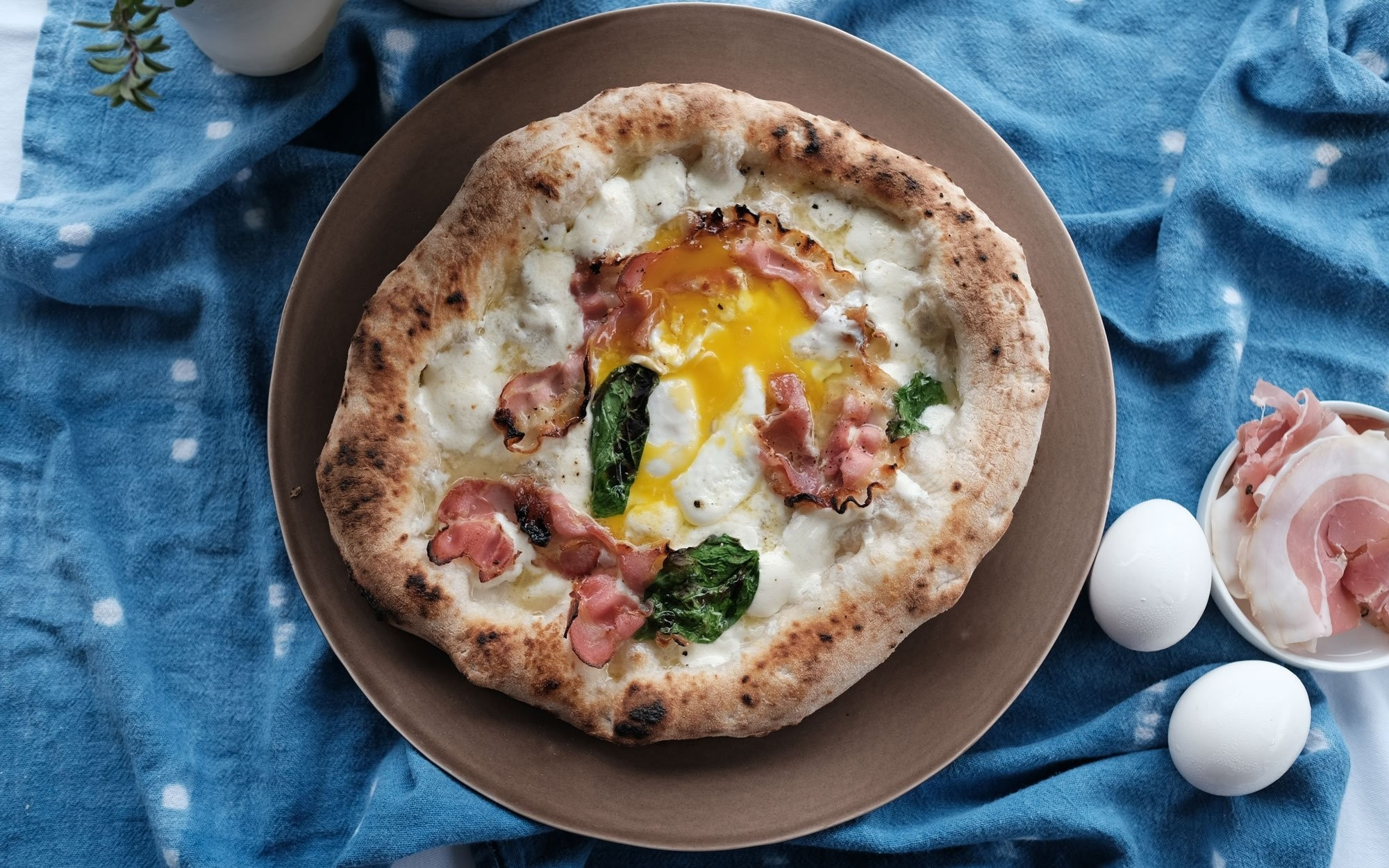 Egg, Pancetta & Basil Pizza
