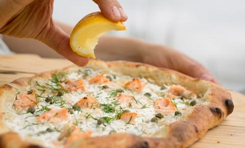 Salmon, Cream Cheese, Dill & Caper Pizza