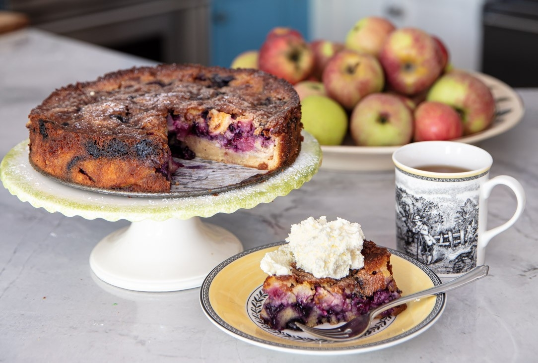 Coffee Cake with Apples & Blueberries