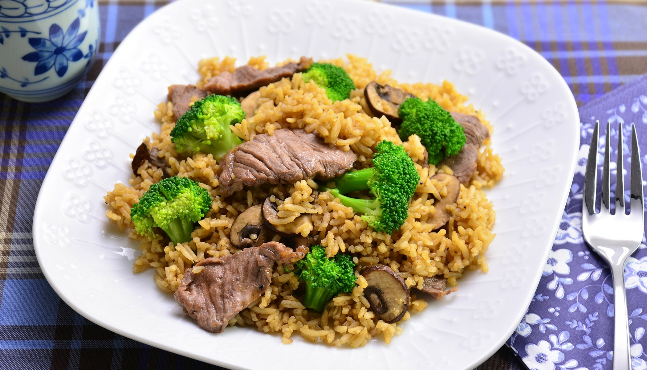 Portabella Mushroom Rice with Beef and Broccoli