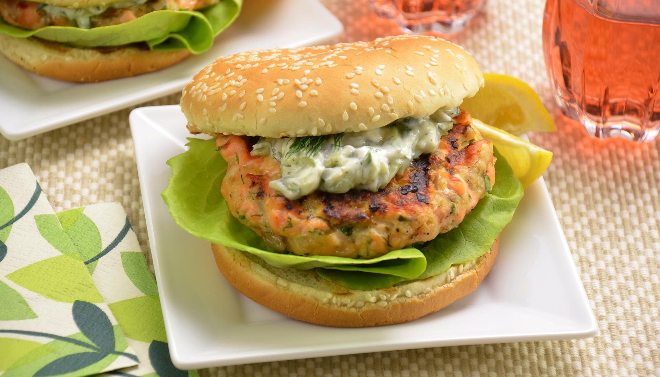 Salmon Burgers with Tzatziki
