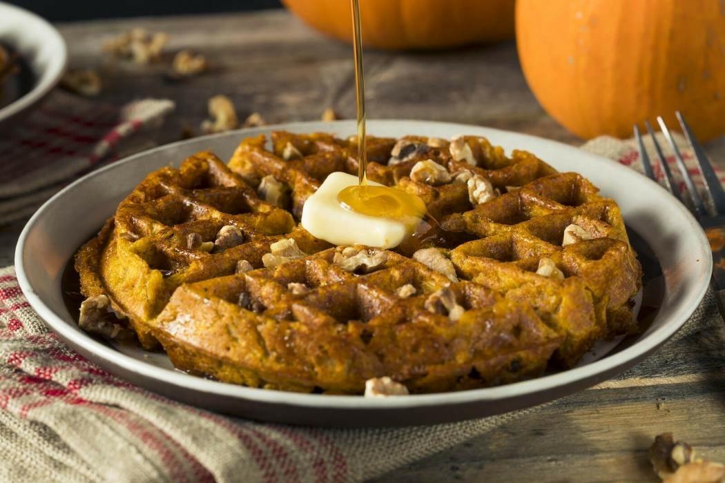 Pumpkin Walnut Waffles