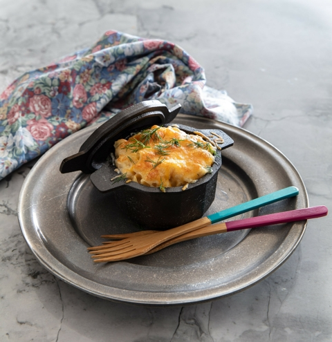 Baked Macaroni and Cheese in Cast Iron Cocotte