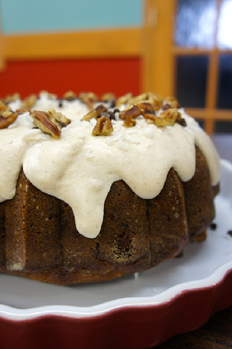 Glazed Cranberry Oat Spice Cake Topped with Coconut & Pecans
