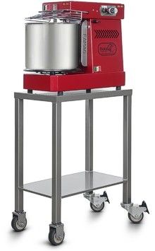 Silver utility cart for heavy dough mixers