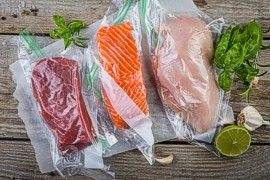 Raw meat vacuum sealed in bags