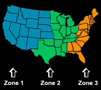 FoodPak shipping zones map