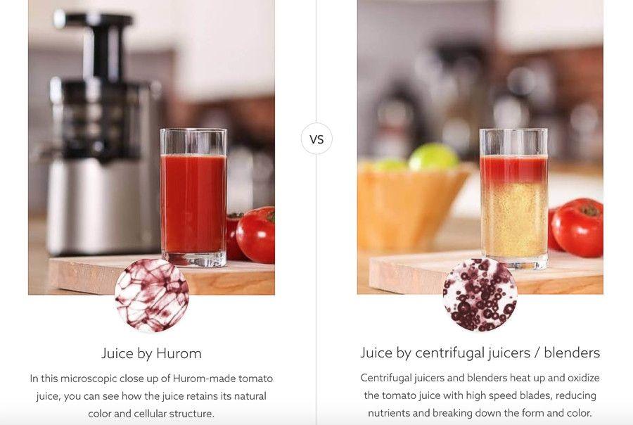 Hurom slow juicer vs. centrifugal juicers