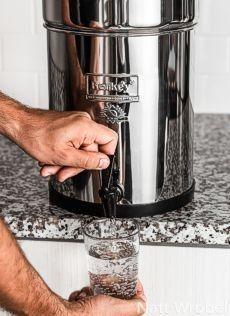 Water being dispensed from Berkey purifier