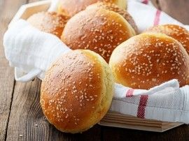 Sesame seeds on hamburger buns