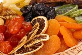 Dried oranges, kiwi, apricots in basket