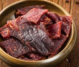 Beef jerky in wood bowl