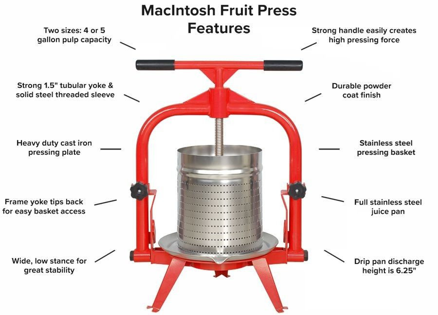 Features of MacIntosh fruit press