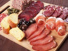 Meat, cheese, olive tray