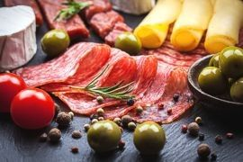 Meats, olives, cheeses