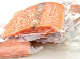 Vacuum sealed salmon fillets