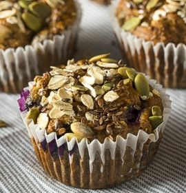 whole grain muffins with seeds and berries
